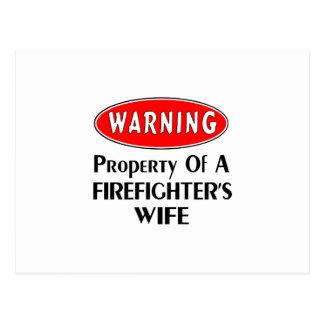 Firefighters Wife Warning Postcard
