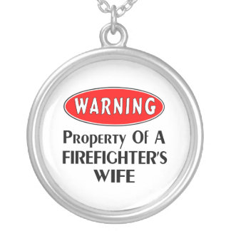 Firefighters Wife Warning Round Pendant Necklace