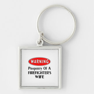 Firefighters Wife Warning Silver-Colored Square Keychain
