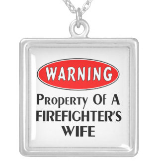 Firefighters Wife Warning Square Pendant Necklace