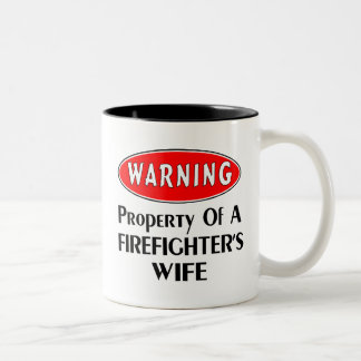 Firefighters Wife Warning Two-Tone Coffee Mug