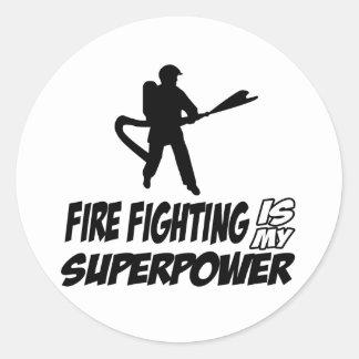 Firefighting designs classic round sticker