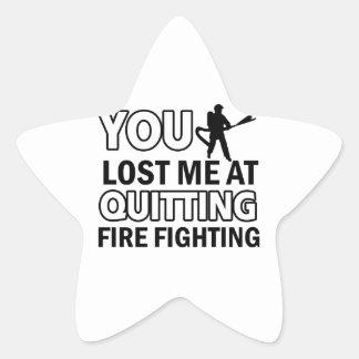 Firefighting designs star sticker