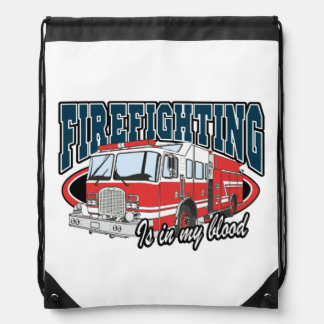 Firefighting is in my Blood Drawstring Backpack