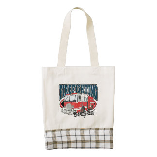 Firefighting is in my Blood Zazzle HEART Tote Bag