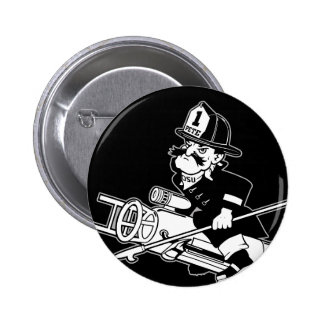 Firefighting Pete - Black and White Pinback Button
