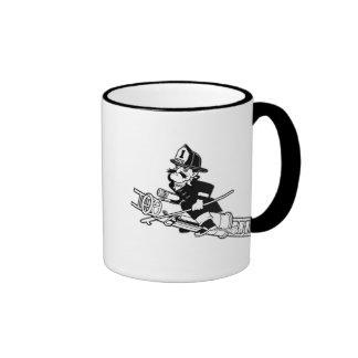 Firefighting Pete - Black and White Ringer Mug