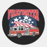 Firefighting Truck Classic Round Sticker