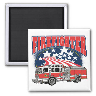 Firefighting Truck 2 Inch Square Magnet