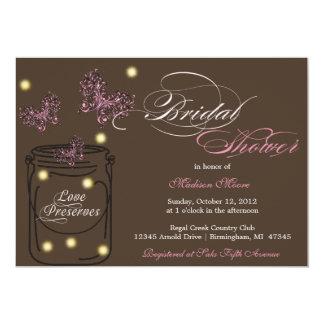 Fireflies and Mason Jar Bridal Shower - Brown 5x7 Paper Invitation Card