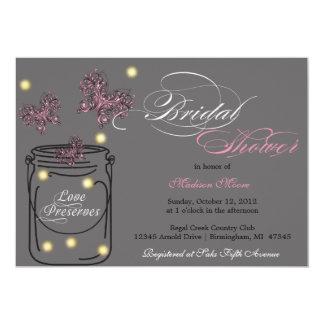 Fireflies and Mason Jar Bridal Shower - Gray 5x7 Paper Invitation Card