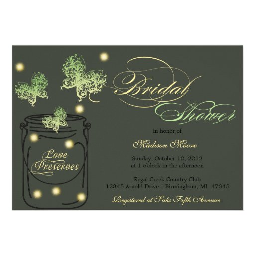 Fireflies and Mason Jar Bridal Shower - Green Personalized Announcements