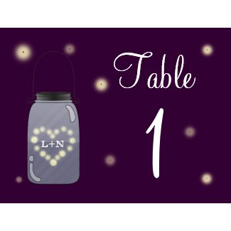 Fireflies and Mason Jar Heart Love Table Number zazzle_postcard