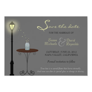 Fireflies and Mason Jar Save the Date Announcement