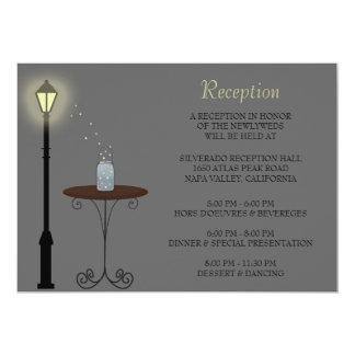 Fireflies and Mason Jar Wedding Reception Card