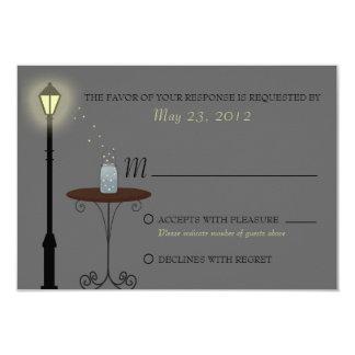 Fireflies and Mason Jar Wedding RSVP Card