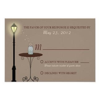 Fireflies and Mason Jar Wedding RSVP Personalized Invitation