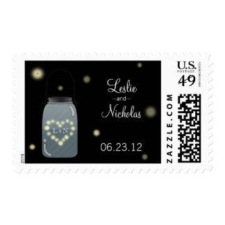 Fireflies and Mason Jar Wedding Stamp