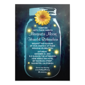 Fireflies & Blue Mason Jar Whimsical Wedding 5x7 Paper Invitation Card