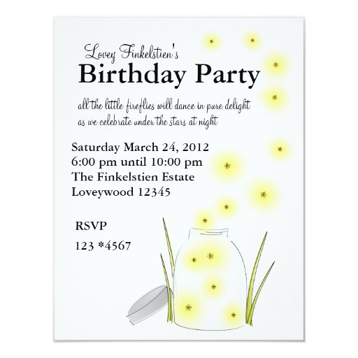 Fireflies Flying 4.25x5.5 Paper Invitation Card