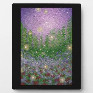 Fireflies Glow Bugs Original Art Print with Easel Plaque