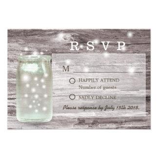 Fireflies Glowing Mason Jar Wedding RSVP Custom Announcements