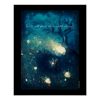 "Fireflies -illustration semi gloss poster 16x20"""