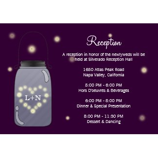 Fireflies in Mason Jar Heart Love Reception Card zazzle_invitation