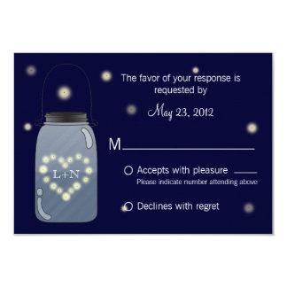 Fireflies in Mason Jar Heart Love RSVP Card