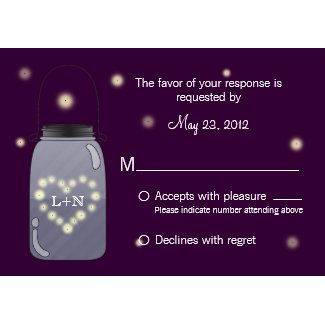 Fireflies in Mason Jar Heart Love RSVP zazzle_invitation