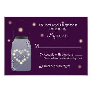 Fireflies in Mason Jar Heart Love RSVP Personalized Invitation