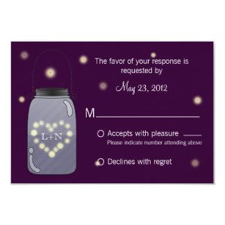 Fireflies in Mason Jar Heart Love RSVP 3.5x5 Paper Invitation Card