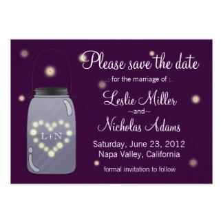 Fireflies in Mason Jar Heart Love Save the Date Custom Announcements
