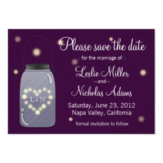 """Fireflies in Mason Jar Heart Love Save the Date 5"""" X 7"""" Invitation Card"""