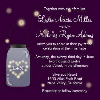 Fireflies in Mason Jar Heart Wedding Invitation zazzle_invitation