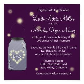 Fireflies in Mason Jar Heart Wedding Invitation 5.25