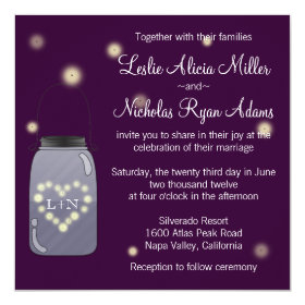 Fireflies in Mason Jar Heart Wedding Invitation