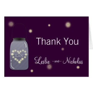 Fireflies in Mason Jar Love Heart Thank You Note Greeting Cards