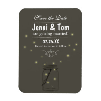Fireflies in Mason Jar Rustic Magnet Save the Date