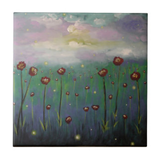 Fireflies in Roses Small Square Tile