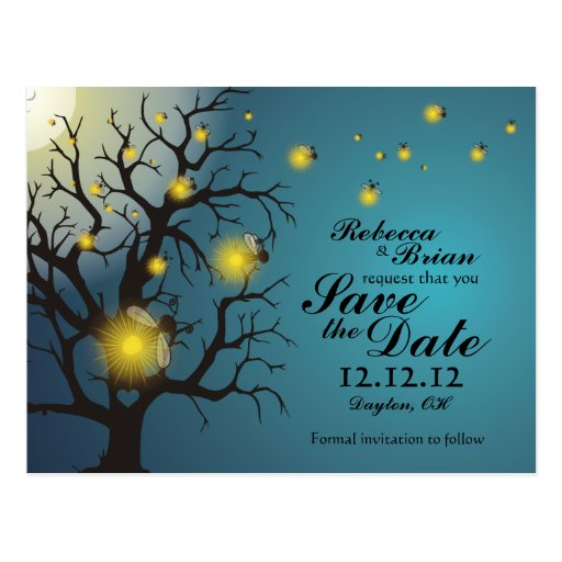 Fireflies in the Moonlight Save the Date Postcard