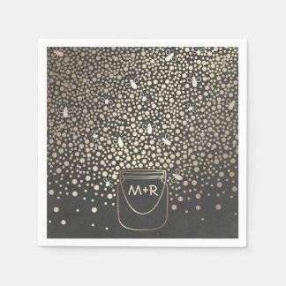 Fireflies Mason Jar Gold and Chalkboard Rustic Napkin