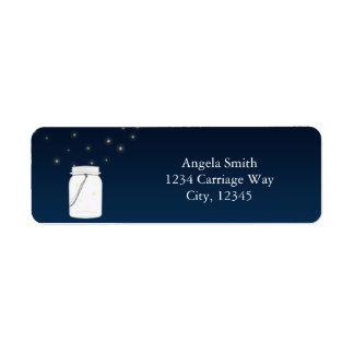 Fireflies Mason Jar Rustic Blue Address Labels