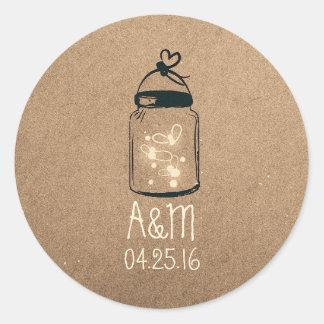 fireflies mason jar rustic classic round sticker