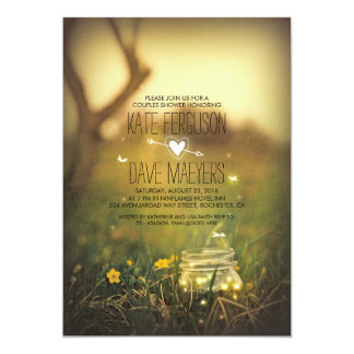 Fireflies Mason Jar Rustic Garden Couples Shower 5x7 Paper Invitation Card