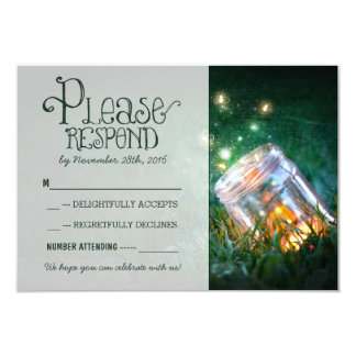 fireflies mason jar rustic garden wedding RSVP 3.5x5 Paper Invitation Card