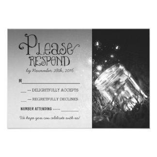 fireflies mason jar rustic garden wedding RSVP Personalized Invitation