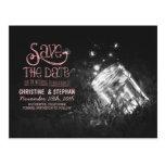fireflies mason jar rustic romantic save the date post card