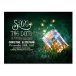 fireflies mason jar rustic romantic save the date postcard