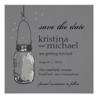 Fireflies & Mason Jar Save the Date Announcements
